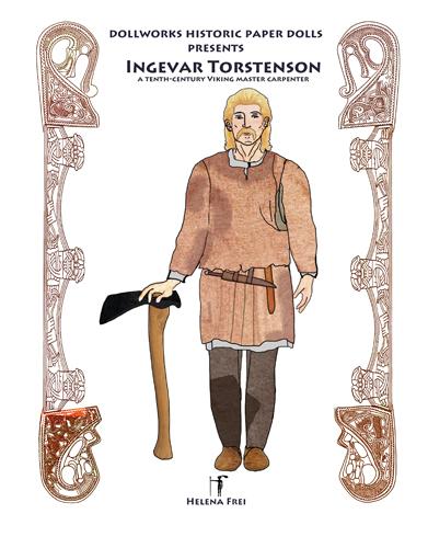 Viking master carpenter Ingevar Torstenson in work clothes and with an adze
